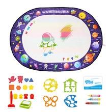 Волшебная доска для рисования 100x70 см, 3 ручки для рисования водой и 1 набор маркеров для раскрашивания, развивающие игрушки для детей, коврик ...
