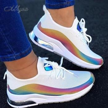 New Sneakers Women Casual Shoes Mesh Air-Cushion Flat Anti-Slip Women Sneakers Outdoor Jogging Trainer Female Vulcanized Shoes