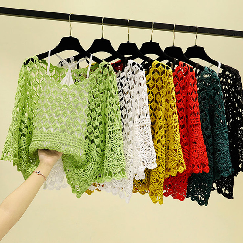 Loose 2 Pieces Set Vintage Floral Hollow Out Crochet Summer Lace Shirt Women Blouse 2020 Crop Tops And Blouses Sexy Ladies