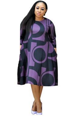 Plus-Size Dress Women Midi Winter O-Neck Polka Dot Print Long Section Ladies Office Gown Big Dresses 8
