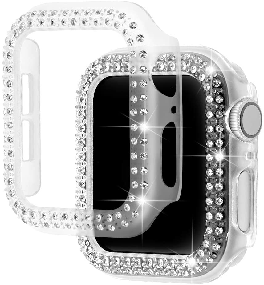 Parachoques de diamante funda protectora para Apple funda para reloj Series 5 4 3 2 1 38MM 42MM fundas para Iwatch 5 4 40mm 44mm correa de reloj