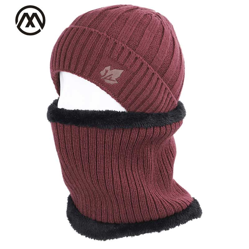 2019 Maple Leaf Winter Hat Men's Scarf Set Men And Women Winter Warm Cotton Hat Scarf 2 Piece Plus Velvet Thicken Hat Men's Peas