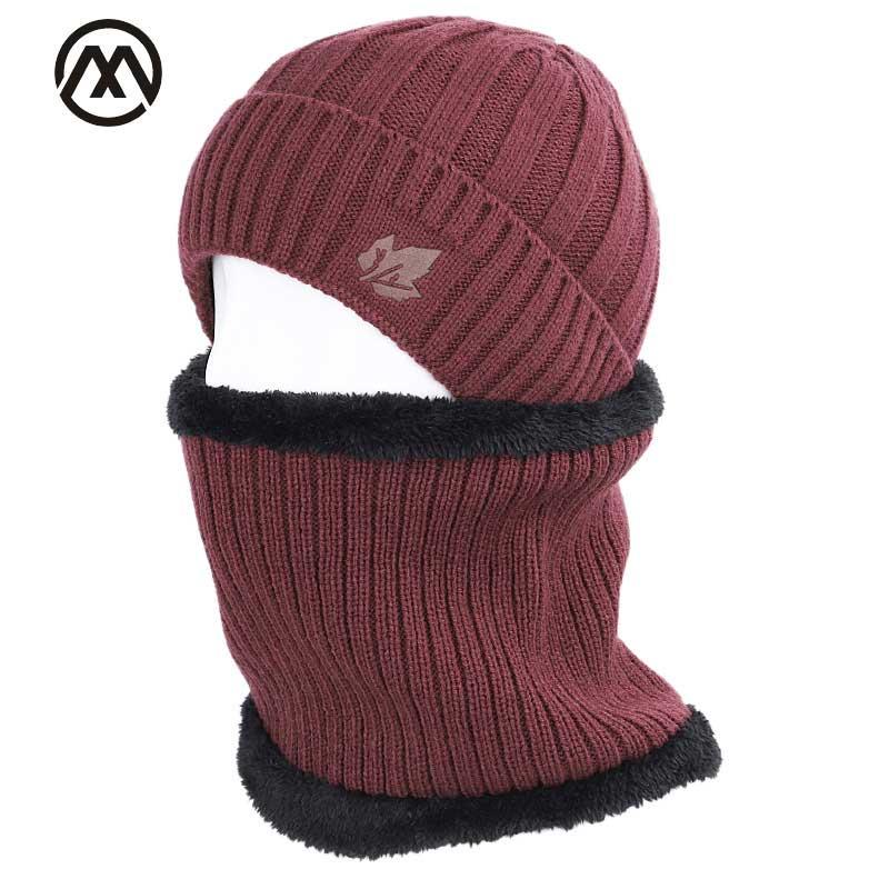 2019 Maple Leaf Winter Hat Men's Scarf Set Men And Women Winter Warm Cotton Hat Scarf 2 Piece Plus Velvet Thicken Hat Men's Peas