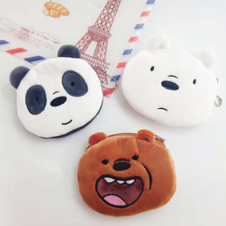3pcs/We Bare Bears Coin Purses Wallet/ Cute Cartoon Mini Card Holder Key Money Bag Cotton Girls Purse Wallets