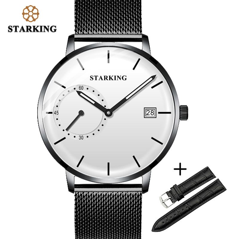 STARKING Men Watch Luxury Quartz Analog Clock Mesh Band Leather Strap SET Watch Auto Calendar Second Dial Watch Man Relogio
