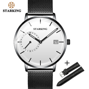 Image 1 - STARKING Men Watch Luxury Quartz Analog Clock Mesh Band Leather Strap SET Watch Auto Calendar Second Dial Watch Man Relogio