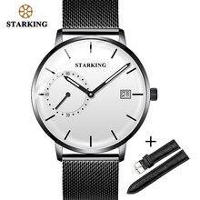Starking relógio masculino de luxo, relógio analógico de quartzo com pulseira de malha de couro, conjunto de relógio com calendário automático, segundo mostrador, relógio masculino