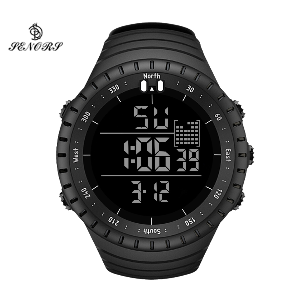 SENORS Sport Watch Men Outdoor Digital Watches LED Electronic Wristwatch Military Alarm Male Clock Digital