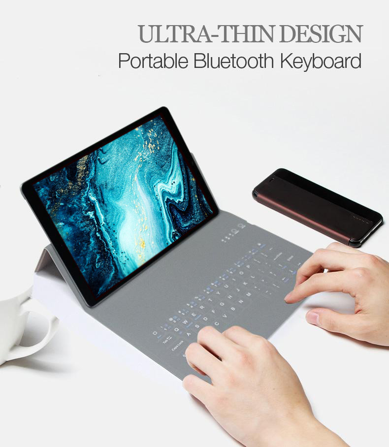 Ultra-thin Wireless Bluetooth Keyboard With PU Leather Case Cover For IPad 7th Gen 10.2 2019 IPad Air 3/ IPad Pro 10.5