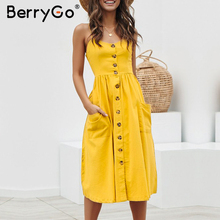 BerryGo Elegant buttons women dress Spaghetti strap dresses pockets polka dots dresses Summer casual female plus size vestidosDresses