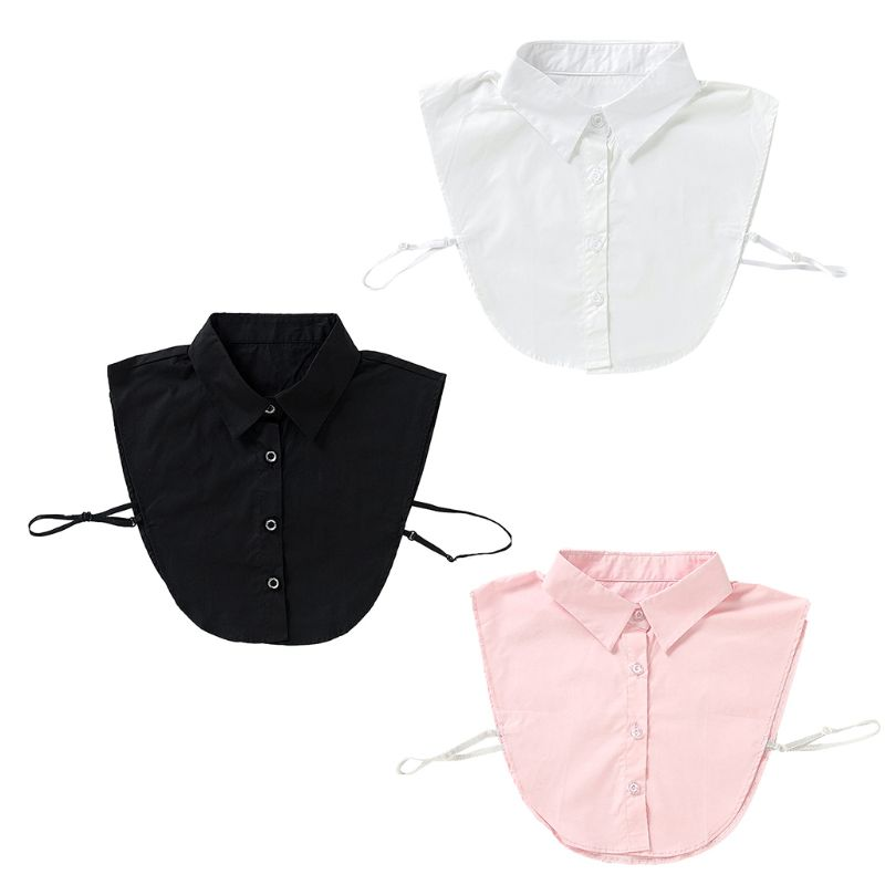 Women Plain Solid Color Cotton Fake Collar Curved Hem Pointed Lapel Half-Shirt