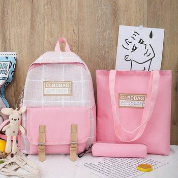 3pcs/Set Plaid Pattern Backpack Canvas Women Shoulder Bag New Teenager Girl School Female Mochilas Bagpack Pen Bags