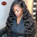 SVT свободная глубокая волна парик для фронта шнурка для черных женщин 180% 4x4 закрытие шнурка парик человеческих волос парики бразильские про...