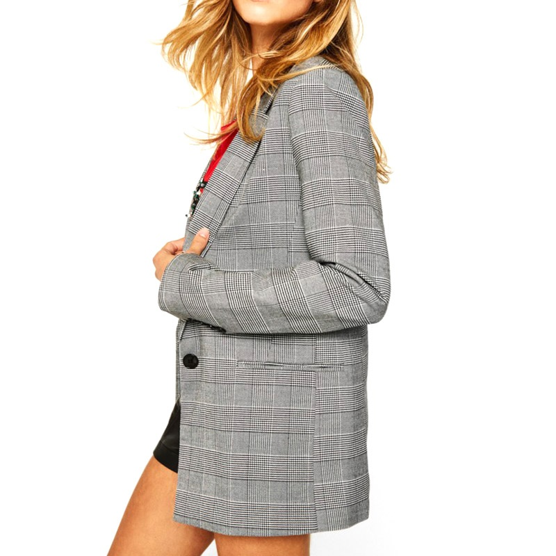 Women Plaid Slim Jacket With A Button Long Sleeve Office Ladies Stitching Business Cardigan Blazer