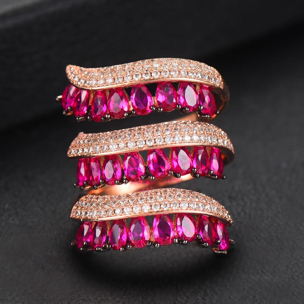 godki 2019 na moda cortina de chuva encantos envoltorio anel para as mulheres zircao cubico aneis
