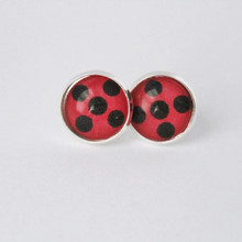Silver Ladybug girl Earrings Round Glass Cabochon Stud Earrings Women Kids Costume Gift Cartoon Cute Anime Jewelry Wholesale(China)