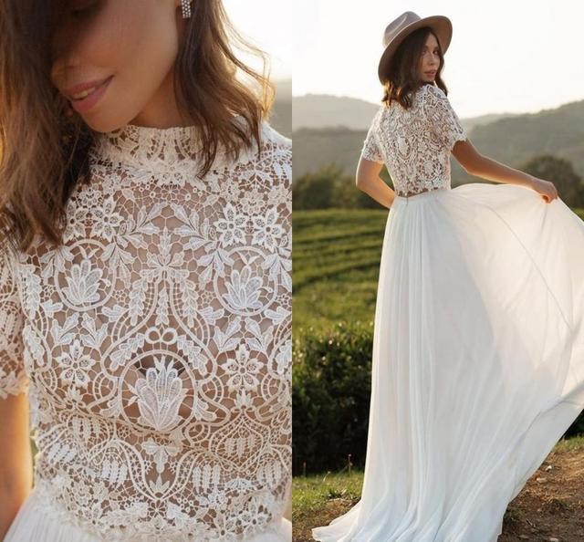 Boho Wedding Dress With Sleeves 2020 Simple Beach Chiffon A-Line With Court Train Cheap Sexy O-Neck Bohemian Bridal Gowns Beach