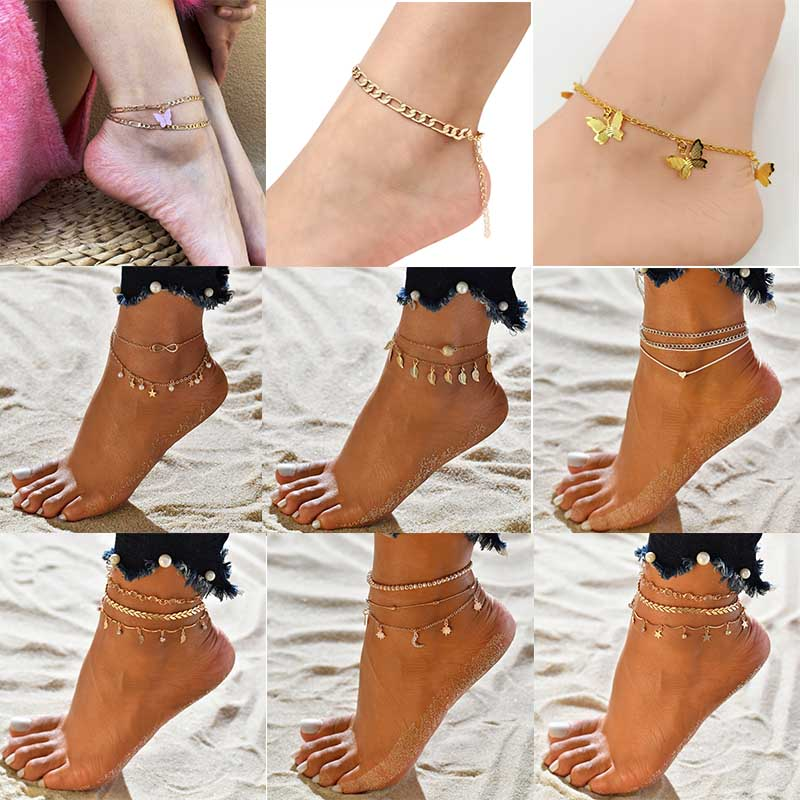 Vintage Butterfly Beach Foot Anklet For Women Bohemian Female Chain Anklets Summer Bracelet On the leg Jewelry