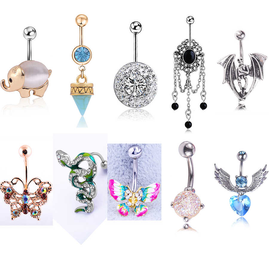 Charm Crystal Nature Stone Pendant Belly Button Rings Anti-allergy Gold Stainless Steel Sexy Lady Piercing Ombligo Body Jewelry