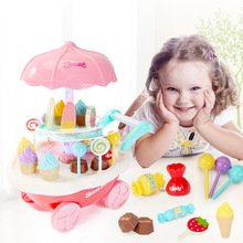Baby Play House Game Toy with Light Music Mini Trolley Girls Candy Suppermarket Boat Icecream BBQ Cart Kids Toddlers Toys