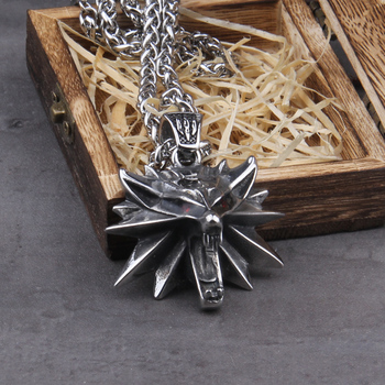 Stainless Steel TheWitcher jewelry Wizard 3 Wild Hunt Game pendant necklace Geralt  wolf head necklace with wooden box the witcher 3 iii solid 925 silver necklace wild hunt wolf medallion geralt of rivias necklace pendant