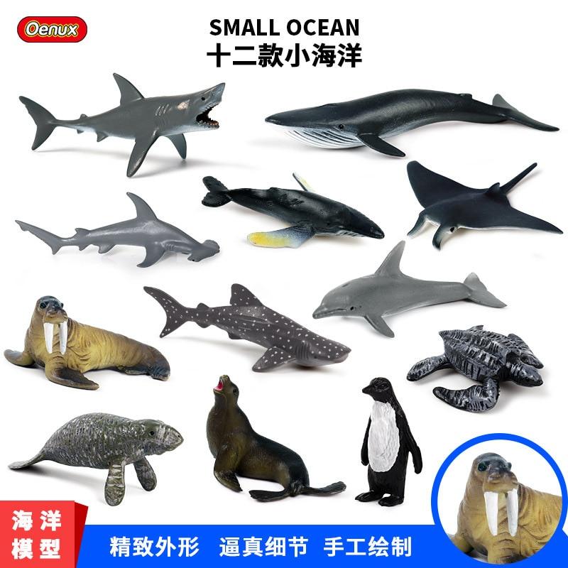 Simulation Mini Ocean Animal Toy Scene Decoration Model Giant Tooth Shark Killer Whale Blue Whale White Shark Penguin Dolphin 12