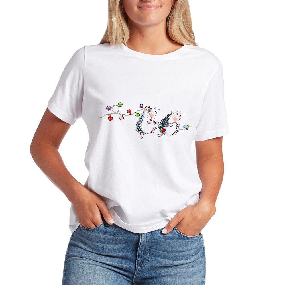 Kawaii футболки для женщин в виде ежа 2020 Новые Топы Футболка женская Свободная футболка, летняя футболка детская белая футболка с принтом с кру...