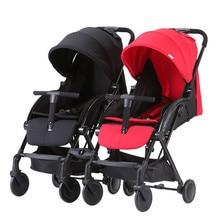 Коляска для малышей-близнецов коляска может быть легкой и легкой, чтобы сидеть в двойной тележке с складная коляска Двойная съемная коляска