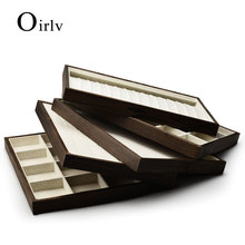 Oirlv Solid Wood Jewelry Display Tray with Linen Dark Coffee Ring Necklace Pendant Bangle Earring Display Tray Organizer Showcae