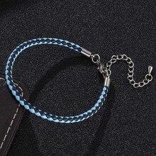 Fashion Mixed Color Braided Leather Rope Bracelet Women Jewelry Lobster Clasp Ajustable Bracelets Wrist Band Brazalete Femenino