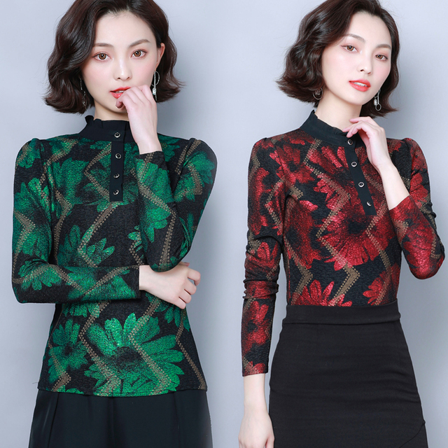 Women Blouses 2019 Autumn Fashion Print Womens Tops and Blouses Long Sleeve Stand Collar Plus Size Women Shirts Blusas Mujer 5
