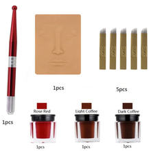 1pcs Manual Pen + 3pcs Tattoo Pigment + 1pcs Fake Skin + 5pcs Tattoo Needle Eyebrow Tattoo Pen Set Makeup Beauty Tools cheap eyebrow tattoo kit PCD 14F rose red dark coffee light coffee black stainless steel rubber silicone tattoo and makeup eyebrow