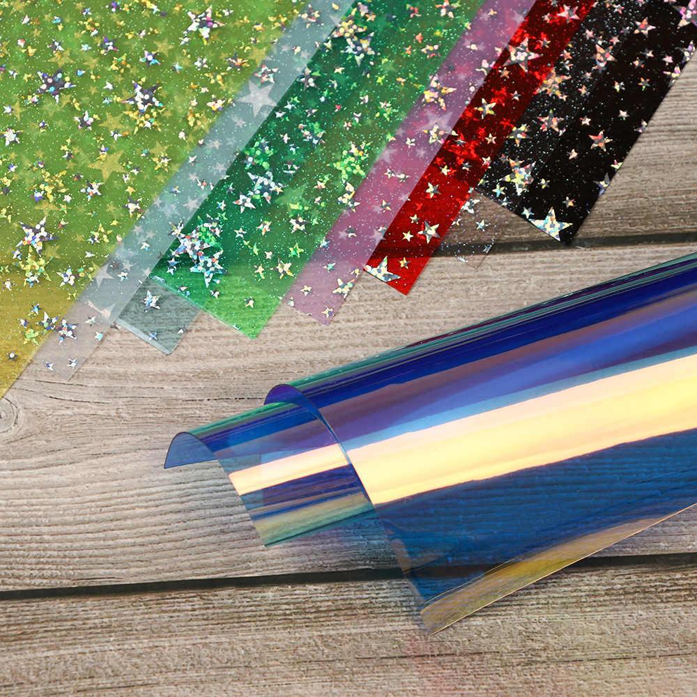 30*22 см Синтетическая кожа ткань простыни конфеты желе прозрачный Блестящий пентаграмма блестящая ткань DIY Hairbow вечерние принадлежности для декора