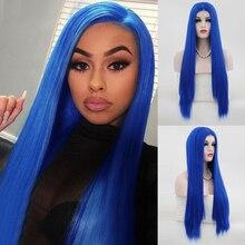 Женский парик из длинных прямых синтетических волос Charisma, синий парик спереди с полузавязывающимся шнурком, парики для косплея