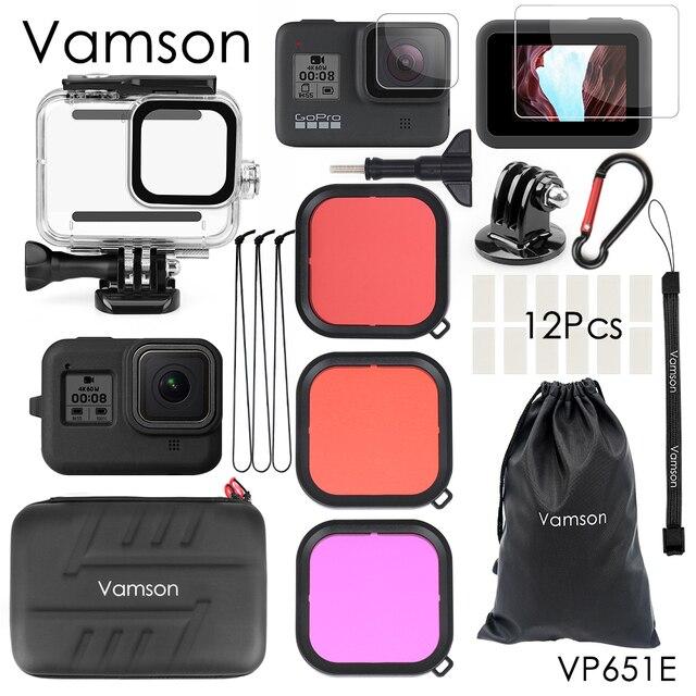 Vamson for gopro hero 8 블랙 45m 수중 방수 케이스 다이빙 보호 커버 go pro 8 액세서리 vp651 용 하우징 마운트