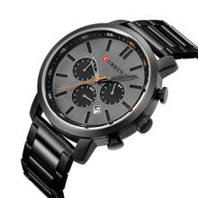 CURREN Full Black Stainless Steel Multifunction Sport Watch Racing Series Quartz Fashion Design Display Men Military