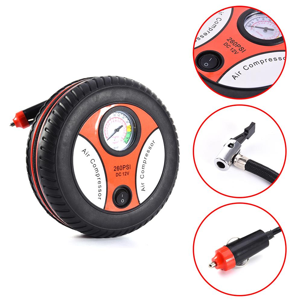 260PSI DC 12V Portable Electric Mini Tire Inflator Air Compressor Car Auto Pump Tire Provide Pressure Gauge And 3 Nozzle Adapter