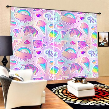 Rainbow Cartoon 3D Print Window Curtains Kids Bedroom Decor Living Room Blackout Curtains Custom for Teens Polyester Curtains