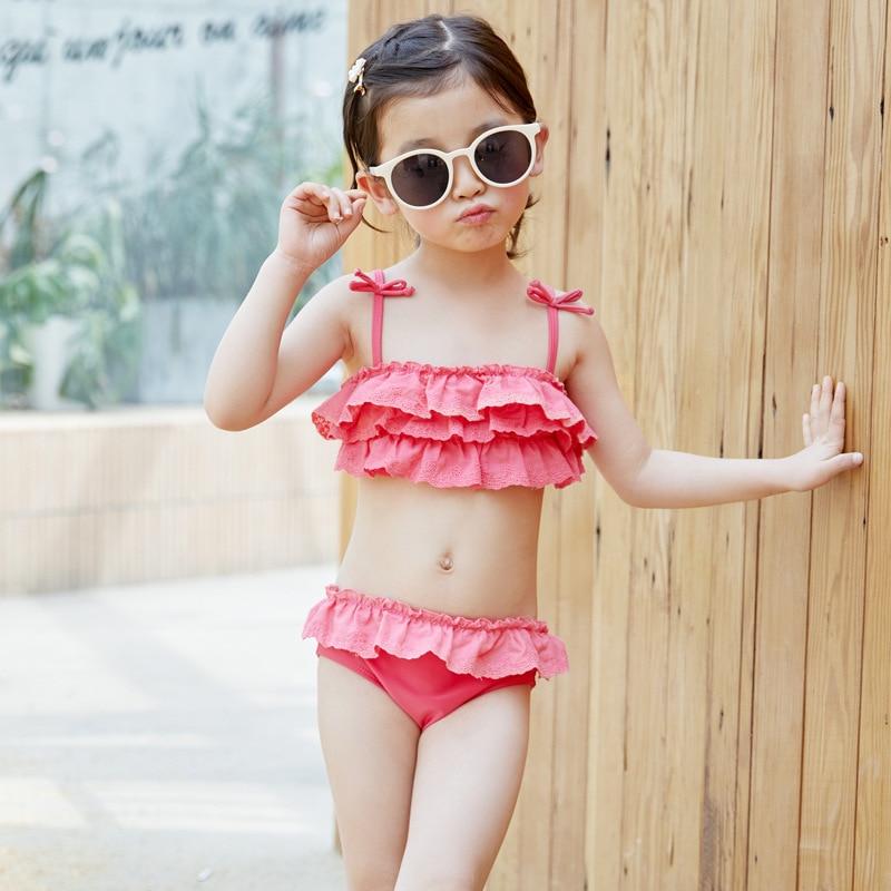 INS KID'S Swimwear Girls Split Type Bikini Swimwear 2019 Small CHILDREN'S Big Boy Baby Swim Bathing Suit