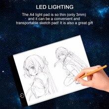 Портативный A4 светодиодный светильник коробка для рисования эскиз Pad копировальная доска светодиодный светильник Pad панель копировальная доска с usb-кабелем
