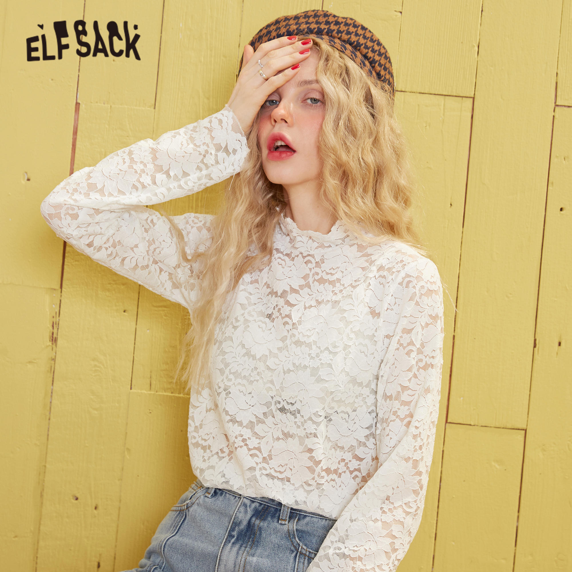 ELFSACK Black Solid Contrast Floral Lace Casual Blouse Women 2020 Spring New White Vintage Long Sleeve Korean Ladies Daily Tops