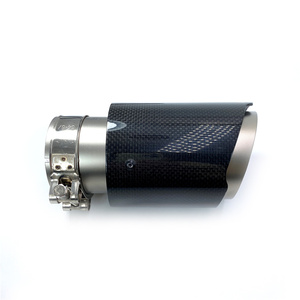 Image 4 - 1PCS Car Exhaust Tail Pipe Glossy Carbon Fiber Sandblasting Stainless Steel Straight Flange Muffler Tip With Remus Logo