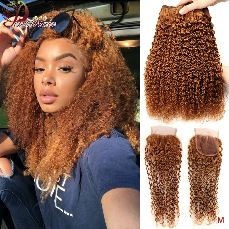 Pinshair Blonde Color 30 Kinky Curly Bundles With Closure Human Hair Bundles With Closure Brazilian Hair Weave Bundles Non-Remy
