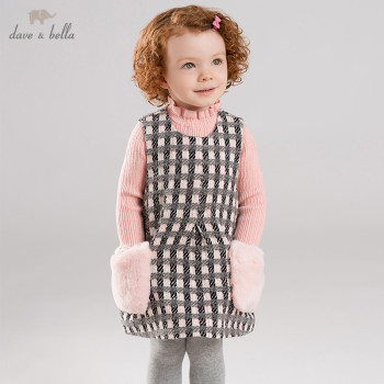 DBM11403 dave bella winter baby girl's princess plaid pockets vest dress children fashion party dress kids infant lolita clothes image
