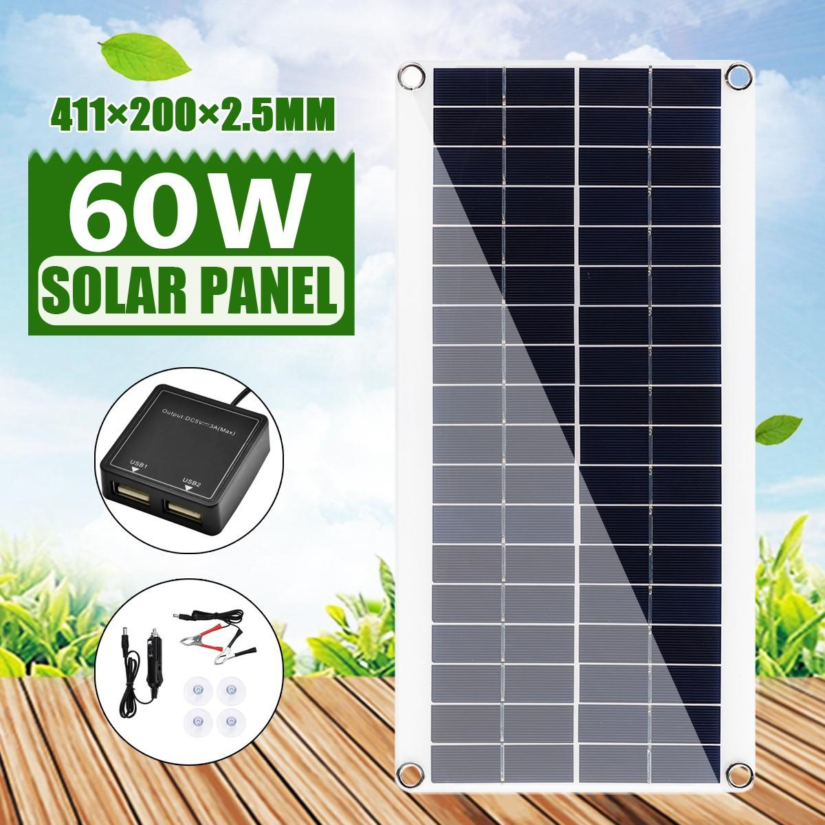 60W DC 18V Solar Panel Battery Charger Portable Solar Cell Board Crocodile Clips Car Charger For Phone RV Car 411X200X2.5MM