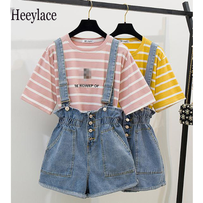 Fashion T-shirt And Overalls Women Suits Solid Striped Sweet Girls Tops Elastic Waist Short Overalls Two Piece Set Women Suits