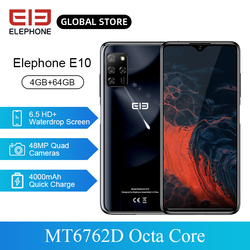 Перейти на Алиэкспресс и купить elephone e10 smartphone mt6762d octa core 6.5дюйм. hd+ 4000mah 4gb 64gb quick charging android 10 nfc side fingerprint mobile phone
