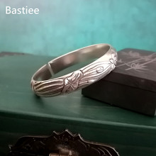цена Bastiee Lotus Flower 9999 Sterling Silver Bangles For Women Cuff Bracelet Hmong Handmade Luxury Jewelry Vintage Ethnic Jewellery онлайн в 2017 году