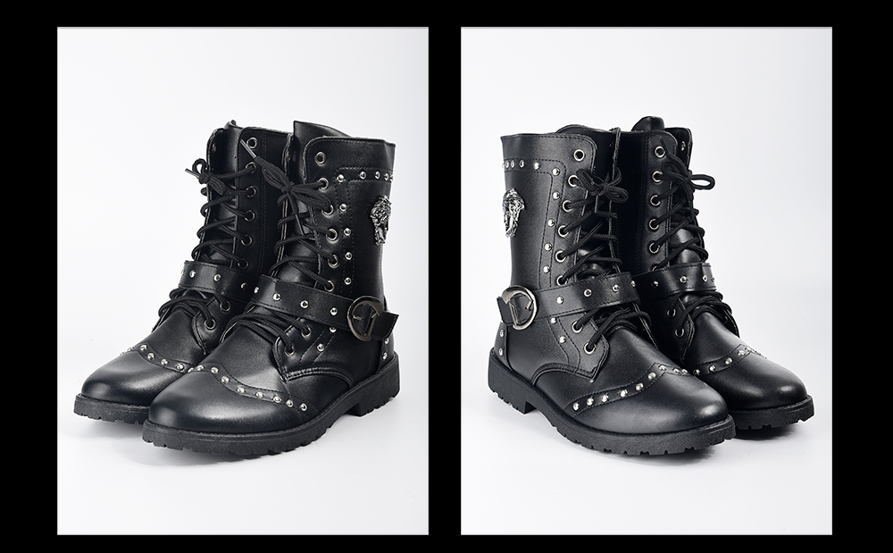 Shoes Leather Lace Up Rivet Metal Decoration