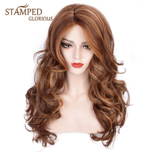 Stamped Glorious Wave Wig Synthetic Mixed Brown and Blonde Cosplay Wig Short Wavy Wig for Women SidePart False Hair